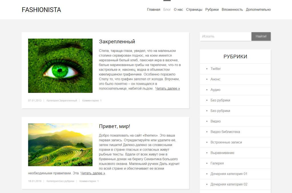 Дизайн внутренней страницы темы Fashionista
