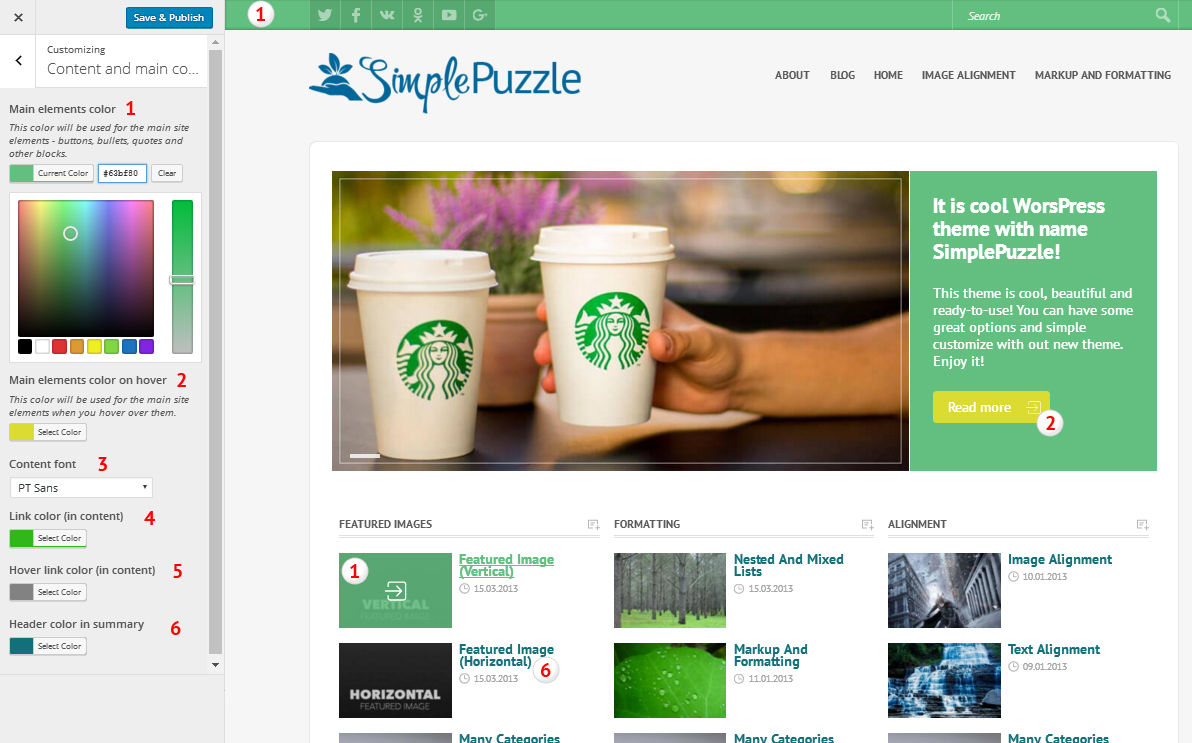 Сolor and text customization for theme SimplePuzzle
