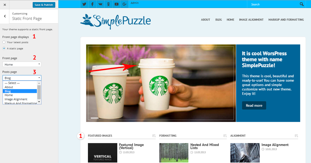Configuration of site homepage for template SimplePuzzle