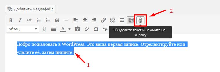 Кнопка в текстовом редакторе